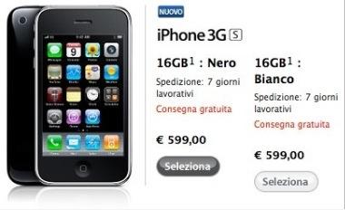 iPhone 3G S su Apple Store: aumentati i tempi di consegna per il 16GB