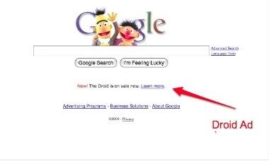 Droid Day: pubblicità anche sulla pagina di Google