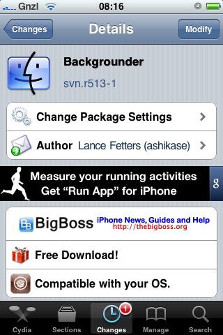Cydia: aggiornamento per Backgrounder
