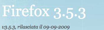 Aggiornamento per Firefox, ora versione 3.5.3
