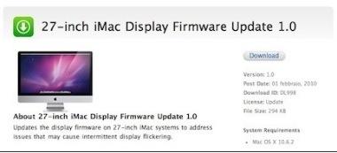 """Nuovo aggiornamento firmware per gli iMac 27"""""""