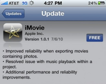 Primo update per iMovie su iPhone 4