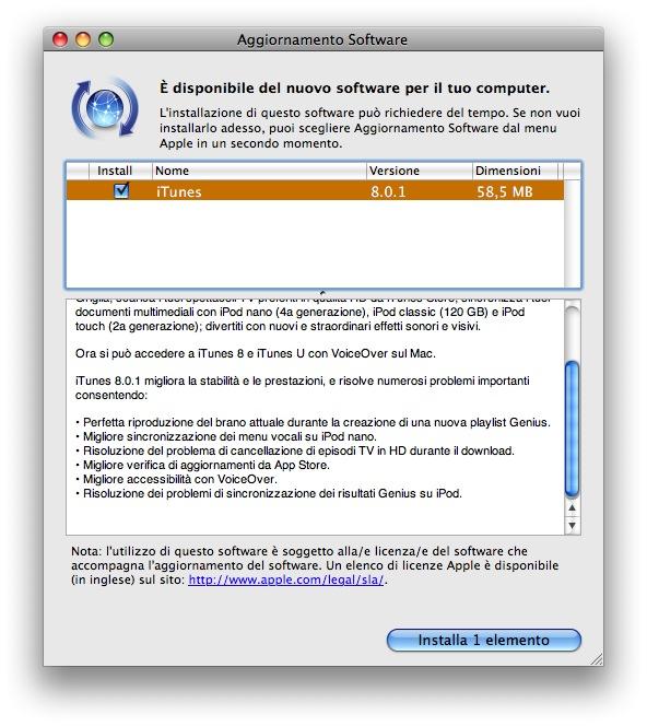 Aggiornamento iTunes v. 8.0.1