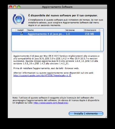 Mac OsX: Aggiornamento di sicurezza per Java
