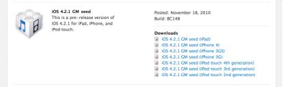 Apple rilascia il firmware GM 4.2.1