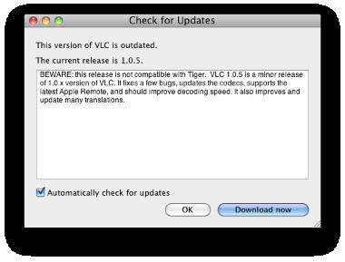 Aggiornamento per VLC, ora v. 1.0.5