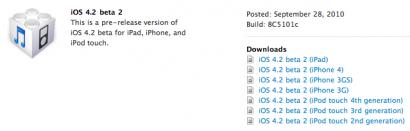 Apple rilascia la beta2 del firmware 4.2
